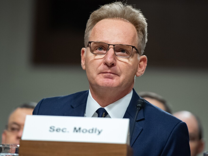 Acting Secretary of the Navy Thomas Modly testifies at a Senate hearing on Dec. 3.
