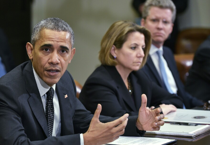 President Obama meets with members of his national security team and cybersecurity advisers in February. Homeland security adviser Lisa Monaco and Office of Management and Budget Director Shaun Donovan are at right.