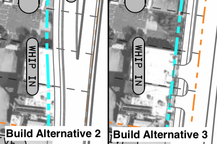Side-by-side maps showing the differing effects of TxDOT proposals for expanding I-35 on the Whip In
