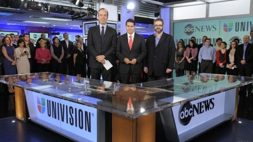 Ben Sherwood, ABC News president; Cesar Conde, Univision Networks president, and Isaac Lee, Univision News president, announced a new joint venture.