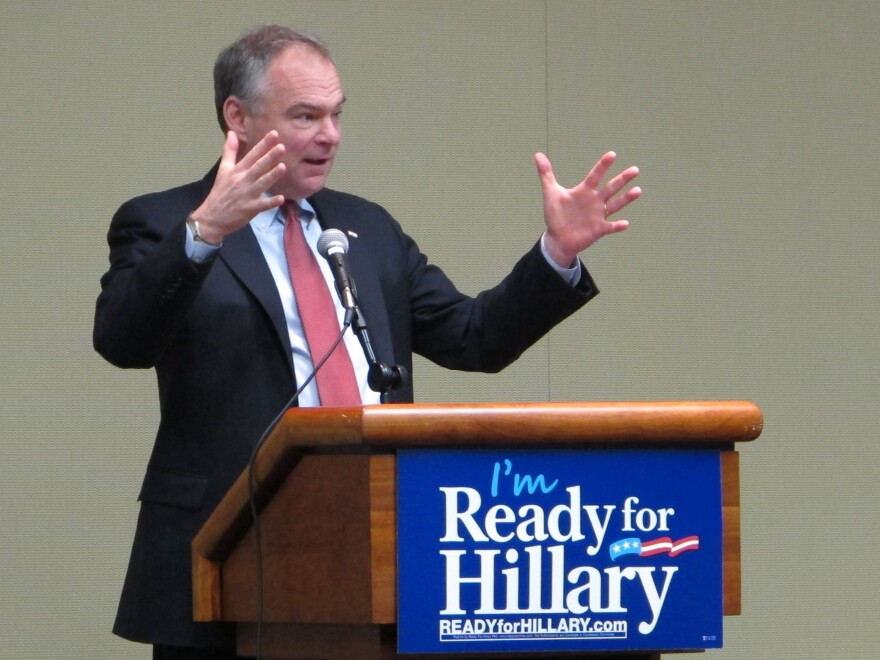 Sen. Tim Kaine, D-Va., was an early endorser of Hillary Clinton. Here, he's giving a speech supporting her potential candidacy back in 2014.