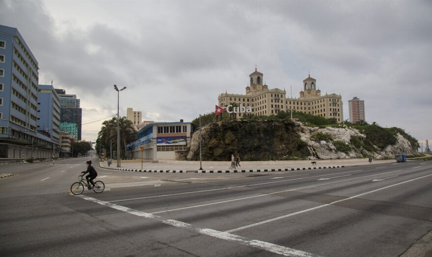 The seaside Avenida Malecon in Havana sits virtually empty still as Cuba begins to reopen from the coronavirus pandemic.