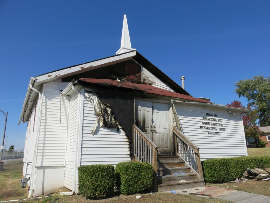 The fire at New Life Missionary Baptist also damaged the siding.