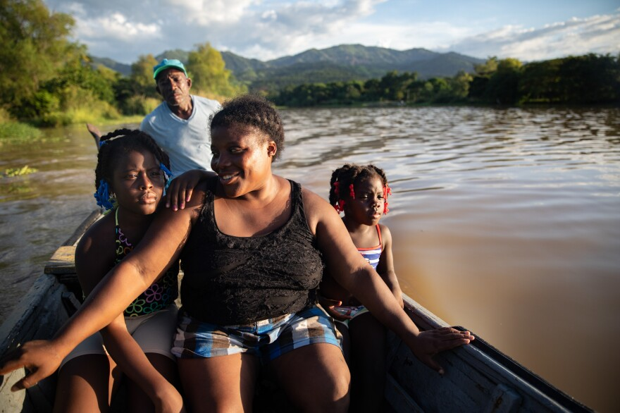 With her uncle Marco at the motor and the rainforest- covered mountains behind them, Ella and her daughters, Jirian and Eleny, sail down the Esteban River toward a sandbar where the Guity family has fished and played for generations.
