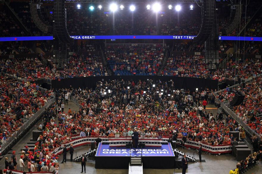 President Trump speaks at a rally in Orlando, Fla., in June to kick off his reelection campaign. Trump has lent his support to a new Republican small-donor fundraising platform, WinRed, that launched last week.