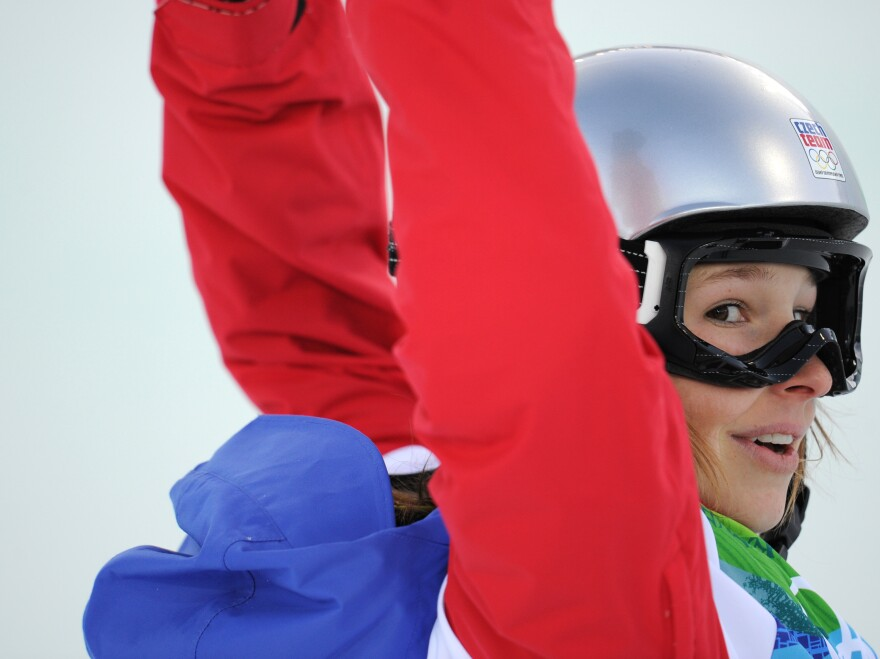 VANCOUVER - Sarka Pancochova of Czech Republic competes in the women's Snowboard Halfpipe semifinals during the 2010 Winter Olympics. (Martin Bureau/AFP/Getty Images)