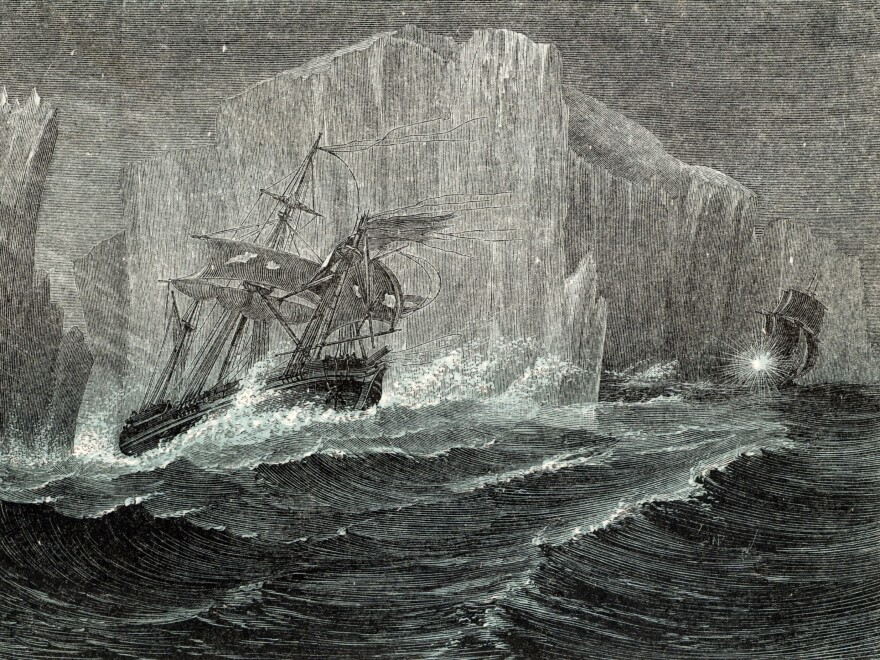 The Erebus and the Terror among icebergs, as illustrated in <em>The Polar World</em> by G. Hartwig in 1874. Sir John Franklin, British naval officer and arctic explorer, commanded the 1845 expedition of the ships to search for the Northwest Passage. All members of the expedition perished.