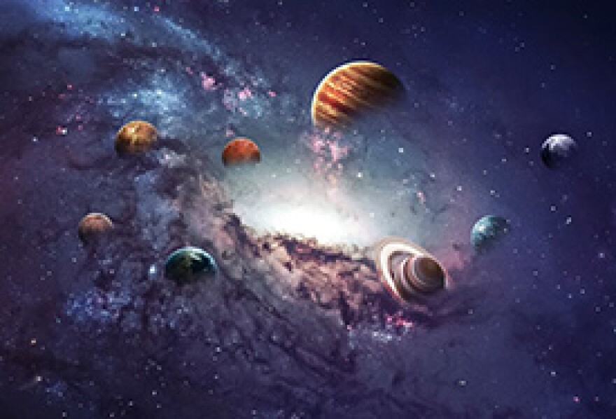 artist's rendition of the solar system