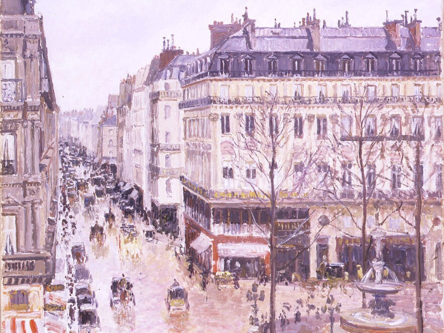 In this photo released by the Thyssen-Bornemisza Museum in 2006, the impressionist masterpiece <em>Rue St.-Honore, Apres-Midi, Effet de Pluie</em>, a Parisian street scene painted by Camille Pissarro in 1897, is seen.
