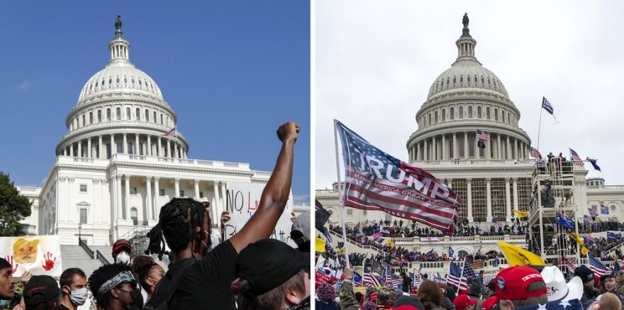 A combination of images show the difference between the demonstrations over the death of George Floyd in June 2020 and the Donald Trump supporters on Wednesday. In the June protests, demonstrators were kept at a far distance from the Capitol building doors. In Wednesday's image, the rioters were climbing the walls and steps of the building as they made their way inside.