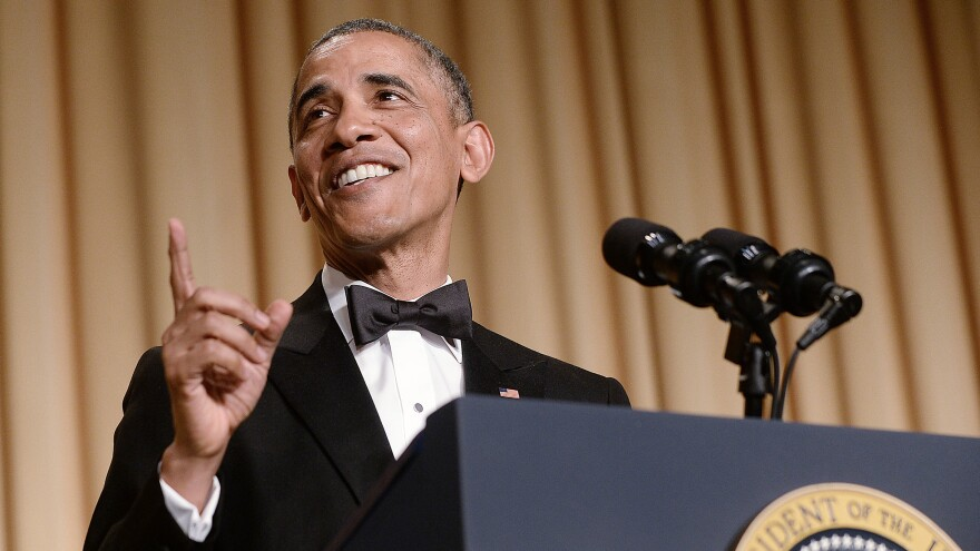 "President Barack Obama speaks at the 2014 White House Correspondents' Association Dinner in Washington, D.C. Speechwriter David Litt, who helped craft the president's comedy routine that night, says, ""Some of the joke is always that it's the president telling a joke."""