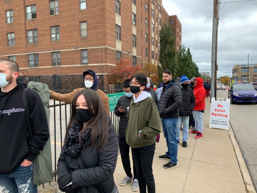 a photo of voters in line in Cuyahoga County