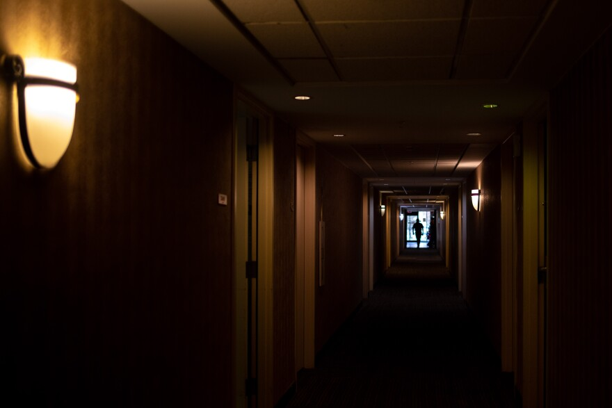 A dimly-lit hallway of the building that will be St. Jude Center Park Central.