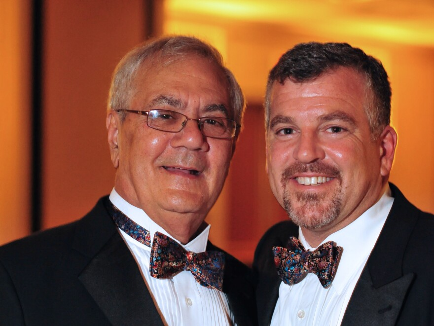 U.S. Rep. Barney Frank, D-Mass., (left) and Jim Ready pose at their wedding reception on July 7, 2012. Frank married his longtime partner in a ceremony officiated by Massachusetts Gov. Deval Patrick in Newton.