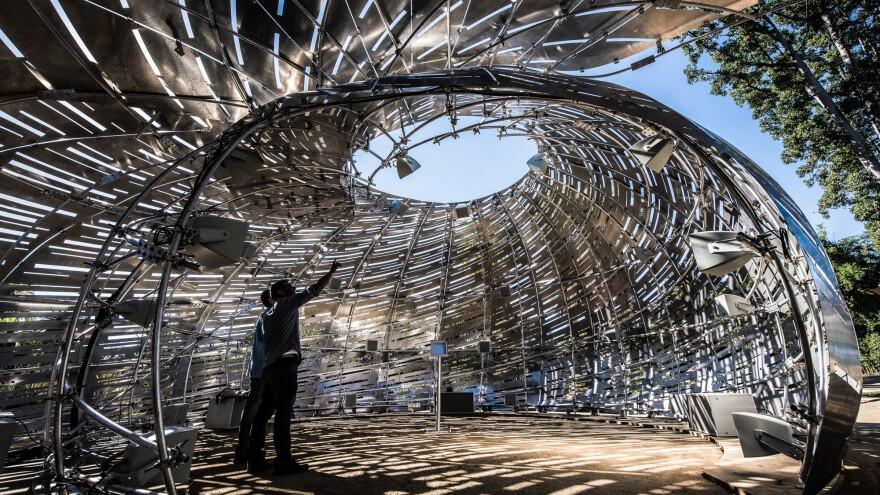 The Orbit Pavilion produces sounds based on orbiting satellites.