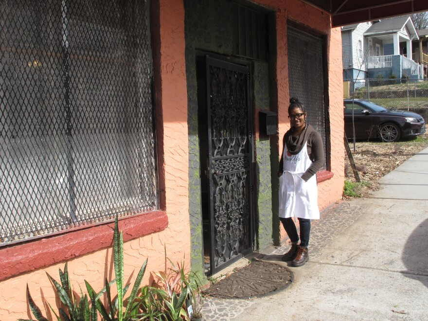 Keitra Bates outside of the newly renovated Marrdy's Shared Kitchen and Marketplace.