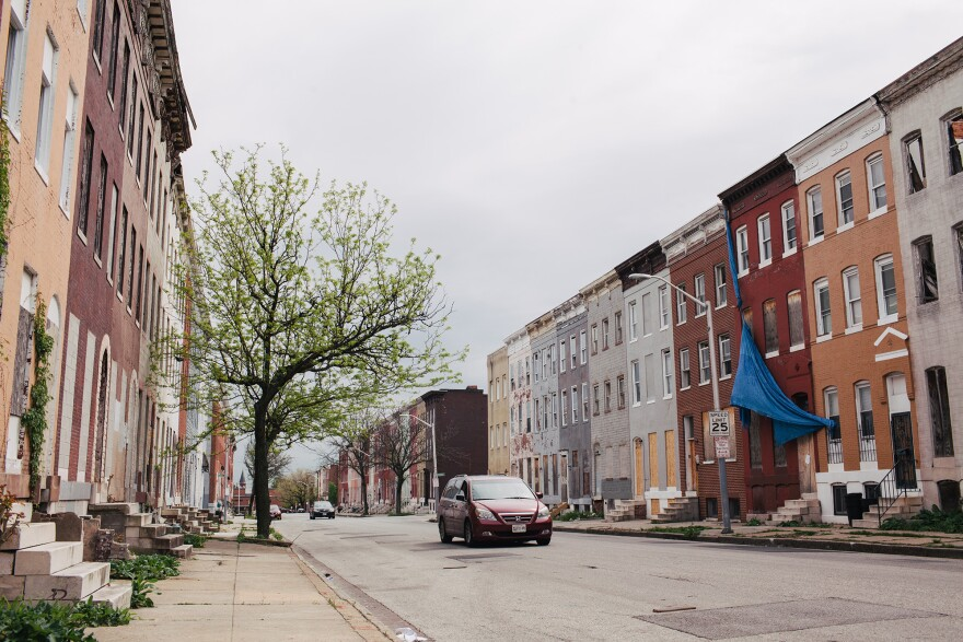 A view of the Sandtown-Winchester neighborhood of Baltimore at North Stricker Street near Riggs Avenue.