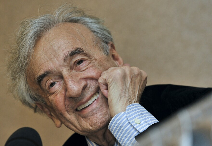 Elie Wiesel, Holocaust survivor and Nobel Peace Prize-winning author, at a news conference in Budapest, Hungary, in 2009.