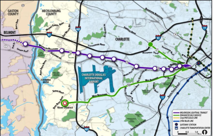 Map shows the proposed route of the Lynx Silver Line light rail (purple) from uptown to the airport and Gaston County.
