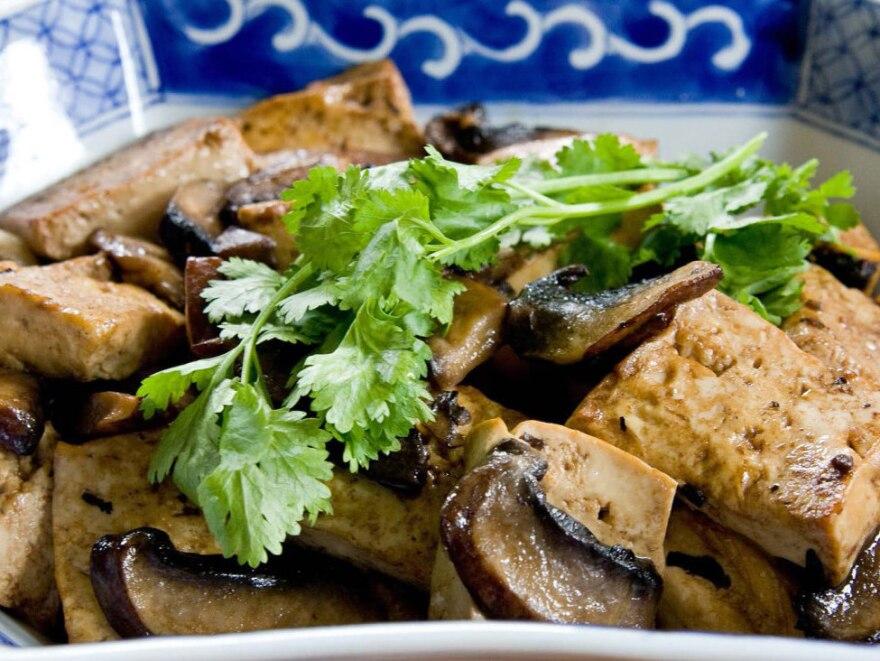Tofu with Mushrooms, a dish featured in<em> The Cultural Revolution Cookbook</em>.