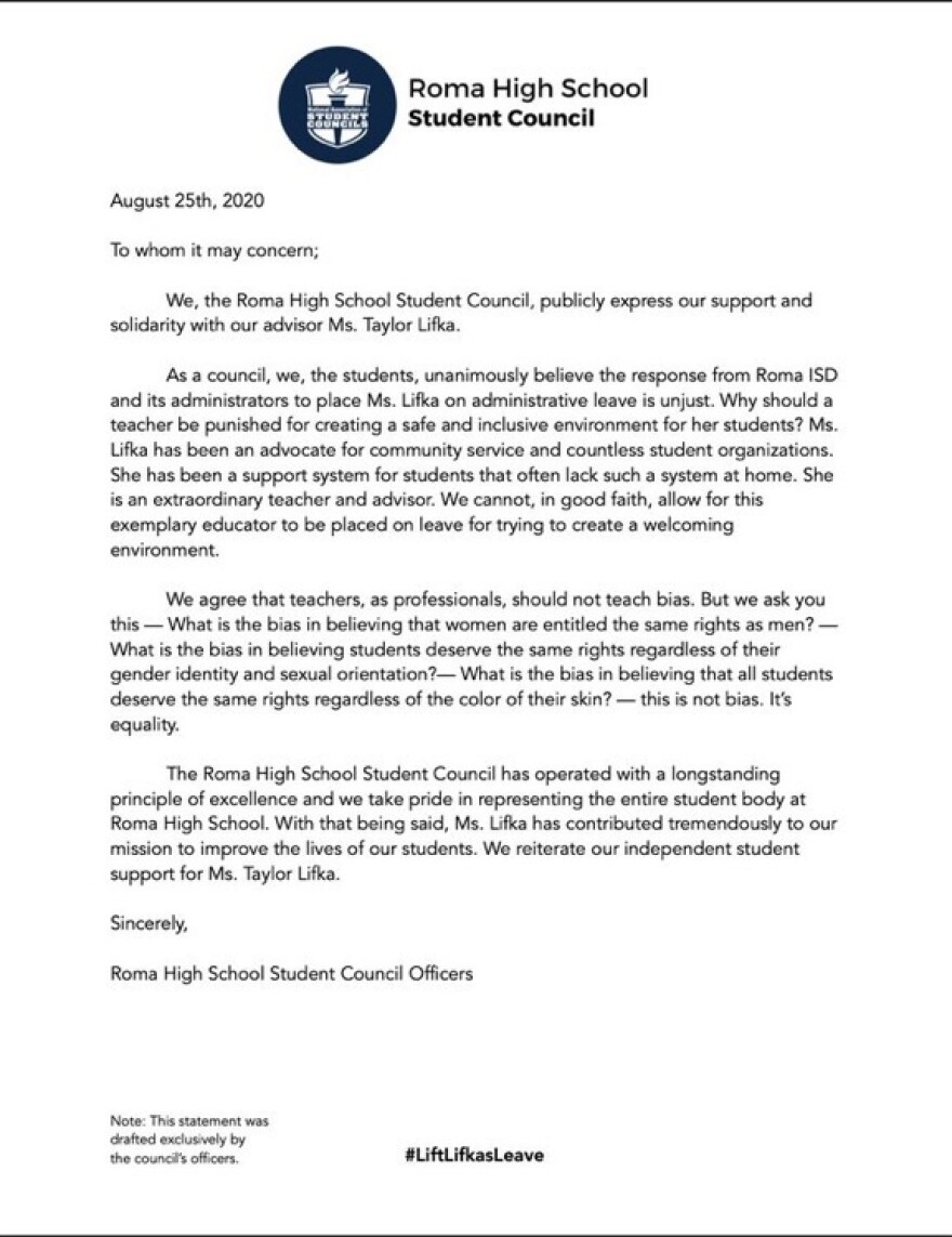The Roma High School student council wrote a letter of support for Taylor Lifka, calling on the district to reinstate her.