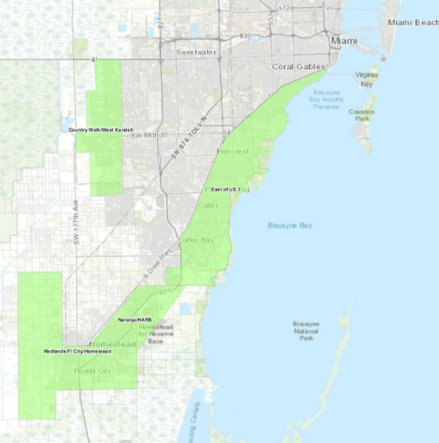 Areas in green are scheduled to undergo aerial mosquito spraying Thursday night.