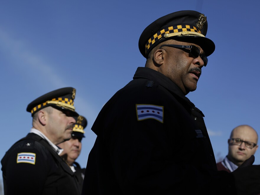 Chicago police announced on Sunday the arrest of a 14-year-old boy in connection with the sexual assault of a 15-year-old girl that was streamed live on Facebook. Above, Chicago Police Superintendent Eddie Johnson talks to reporters at the scene of a triple shooting in the North Lawndale neighborhood in February.