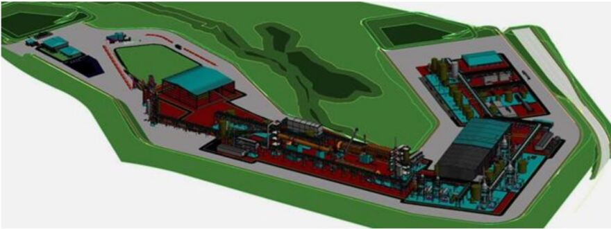A drawing of what Piedmont Lithium's chemical processing plant will look like. It could be built in Kings Mountain, or nearby.