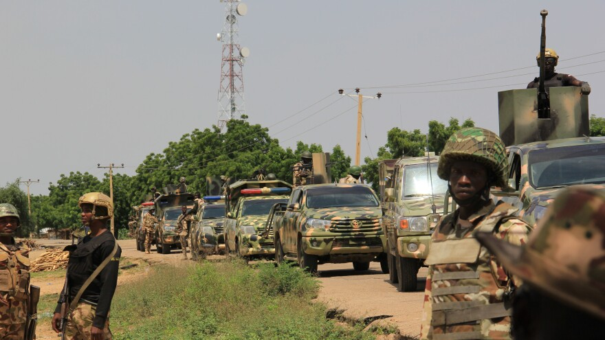 Nigerian soldiers are on patrol in October, after gunmen suspected of belonging to the Islamic State West Africa Province group raided the village of Tungushe, killing a soldier and three residents.
