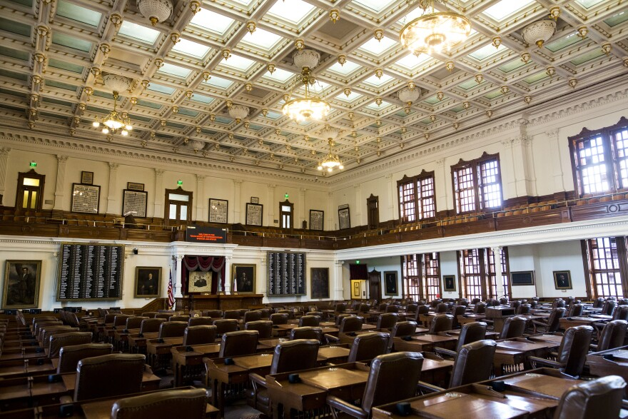 The House Chambers inside the Texas State Capitol building in downtown Austin.