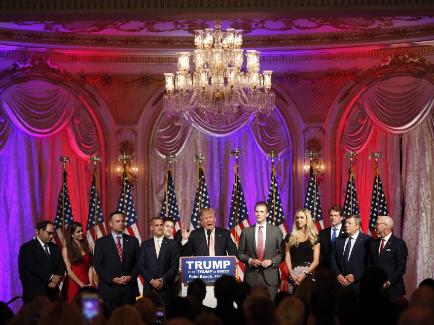 Donald Trump speaks to supporters at a primary election night event in March 2016, at his Mar-a-Lago Club in Palm Beach, Fla.)