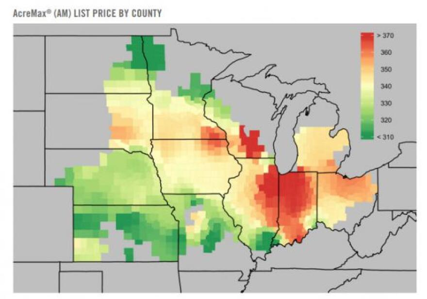 This second FBN map shows different seed prices for a DuPont Pioneer seed trait package. These maps show aggregated data from Farmers Business Network using member invoices, not from DuPont Pioneer or local dealers' data.