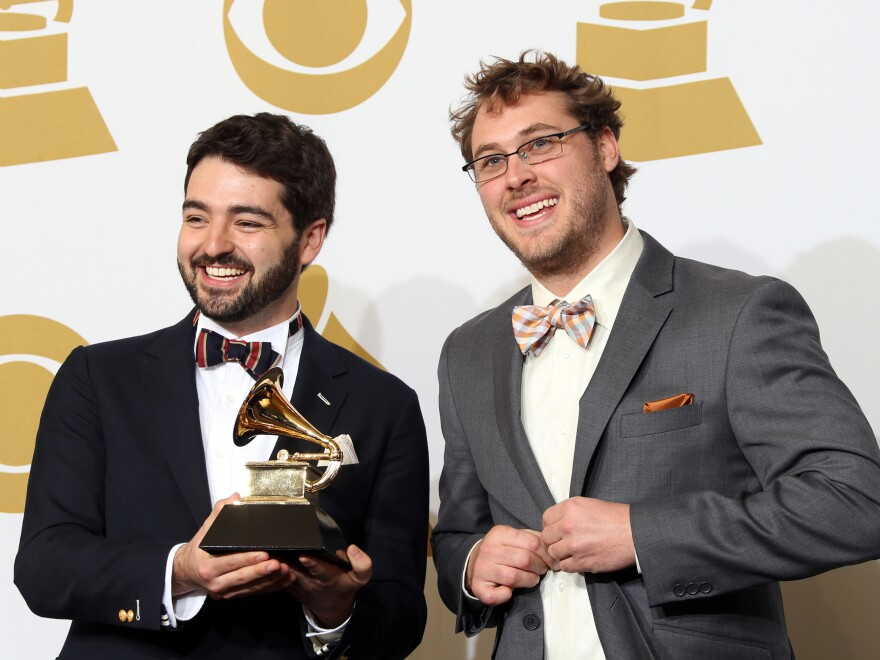 Justin Lansing (left) and Joe Mailander (right) of The Okee Dokee Brothers have declined their 2021 Grammy Award nomination for Best Children's Album. The duo won the honor in 2013 for their album <em>Can You Canoe?</em> and have amassed five total nominations.
