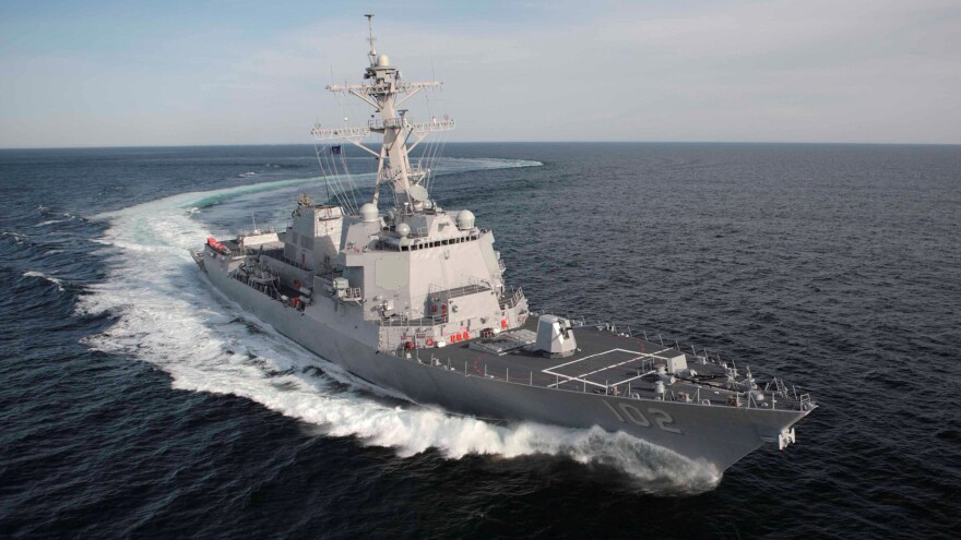 This April 2007 photo released by the U.S. Navy shows the guided missile destroyer USS Sampson during a test cruise off the coast of Maine.