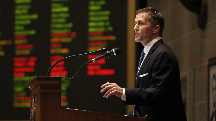 "Missouri Gov. Eric Greitens delivers the annual State of the State address in January. Missouri lawmakers have called on him to resign, though he calls the case against him a ""witch hunt."""