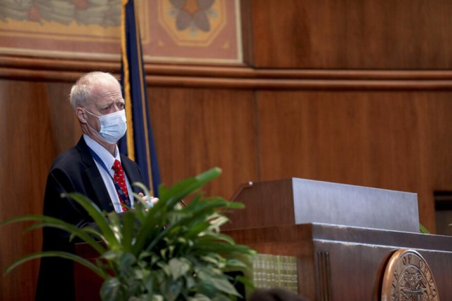 Senate President Peter Courtney, D-Salem, addresses the state Senate during a special session called to address police reform and coronavirus concerns, at the Oregon State Capitol in Salem, Oregon, on Wednesday, June 24, 2020.