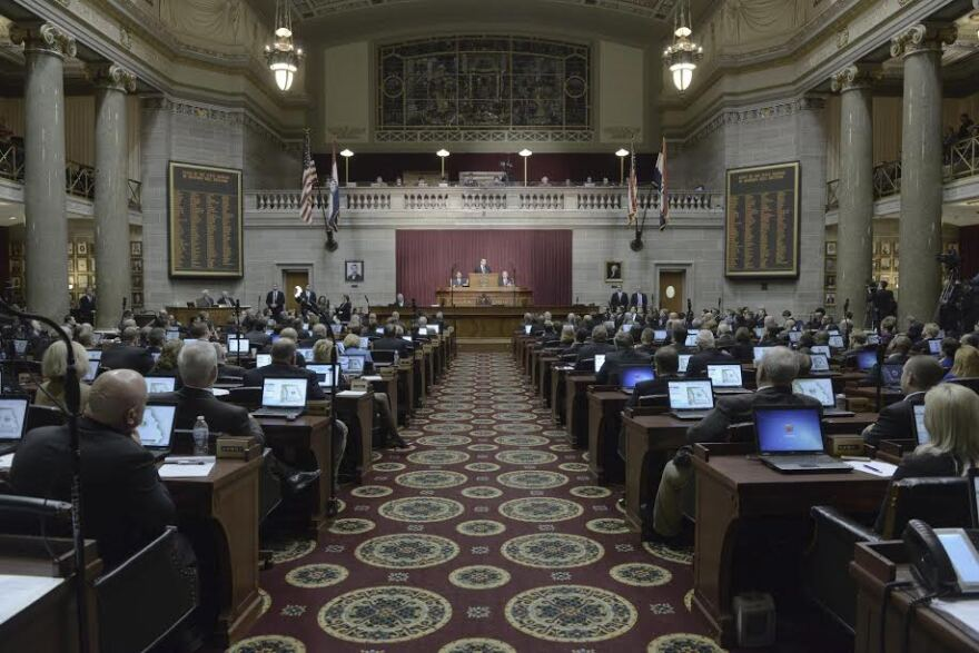 Missouri lawmakers listen to Gov. Eric Greitens speak earlier this month during his State of the State address.