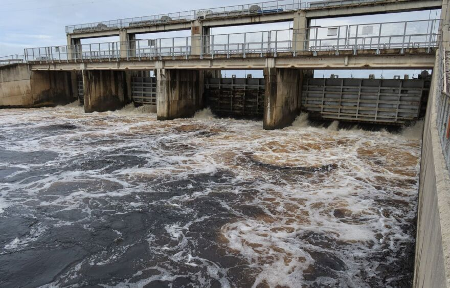 Water rushes from the downstream side of Rodman Dam along the Ocklawaha River.