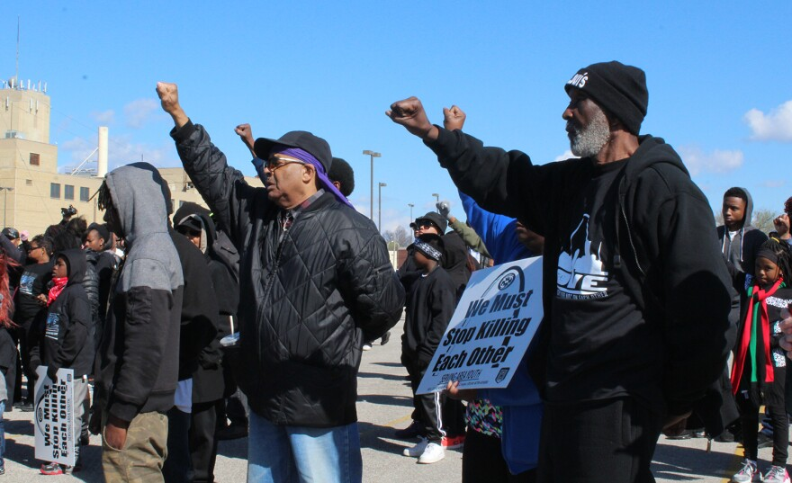 Members of the crowd raise their fists during an anti-violence rally in north St. Louis, Saturday, March 19, 2016.