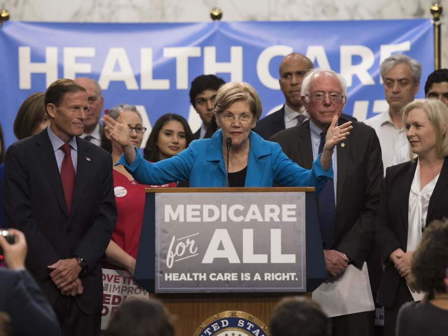 "Sen. Elizabeth Warren speaks at the unveiling of Sen. Bernie Sanders' ""Medicare for All"" legislation on Capitol Hill in Washington, D.C., in September 2017."