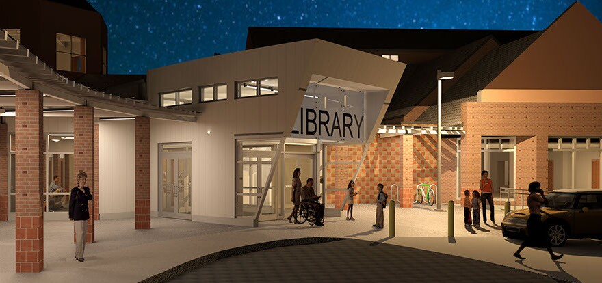 Artist rendering of new entrance at the Clark County Public Library in Downtown Springfield