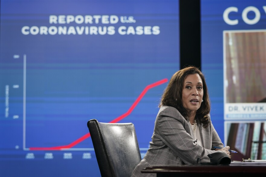 Sen. Kamala Harris, running mate of presumptive Democratic presidential nominee Joe Biden, attends a coronavirus briefing Thursday in Wilmington, Del.