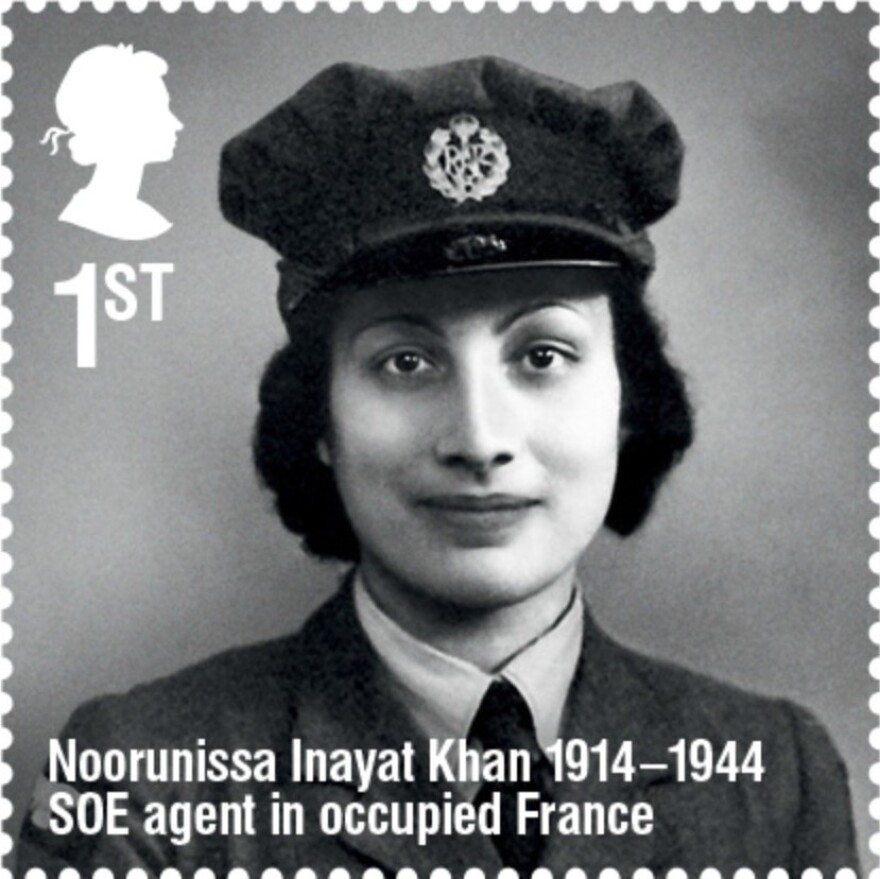 """This March, the U.K.'s Royal Mail released a stamp honoring Noor Inayat Khan as part of its """"Remarkable Lives"""" set. The Royal Mail noted that Inayat Khan didn't carry a weapon, to honor her pacifist beliefs, and that she was posthumously awarded the French Croix de Guerre and the British George Cross."""