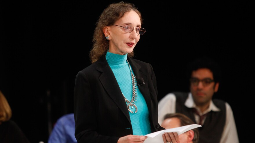 "Author Joyce Carol Oates, seen here at a a panel discussion last October, sparked jokes, and then a debate, by tweeting about the ""barbaric"" killing of a triceratops."