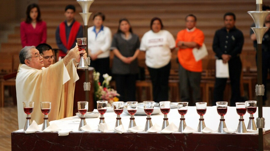 San Gabriel Region Auxiliary Bishop Gabino Zavala leads a mass in this file photo from 2005. Zavala resigned from the ministry in December, after revealing that he fathered two children.
