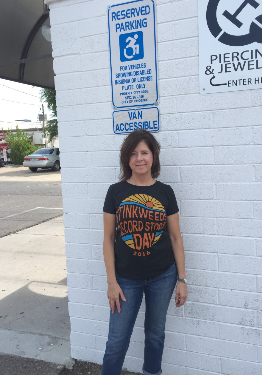 Kimber Lanning, who owns a music shop in Phoenix called Stinkweeds, is among a slew of Arizona business owners who have been sued recently for allegedly violating the Americans with Disabilities Act. In this case, her ADA-accessible parking sign was a few inches too low.