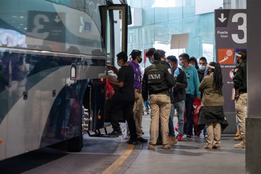 Mexican migrants are sent to Mexico City's biggest bus stations after being expelled from the U.S. on July 10, 2020, days after crossing the border illegally. Mexico's National Migration Institute pays for their bus tickets so the migrants can reach their