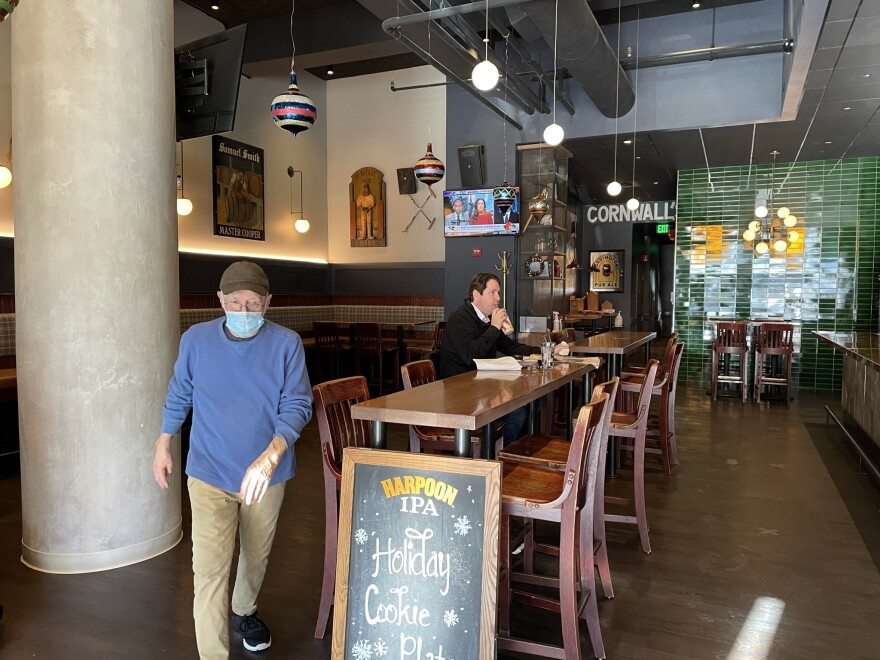 Cornwall's Tavern's co-owner John Beale says business has dropped to just about a third of what it usually is this time of year, not enough to keep even the restaurant's skeletal staff busy these days.