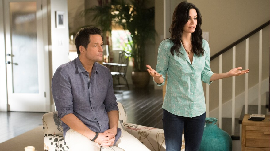 The programming convergence between cable and broadcast networks may have already begun, with shows like <em>Cougar Town</em> jumping ship from ABC to TBS. (Pictured: Josh Hopkins and Courteney Cox)