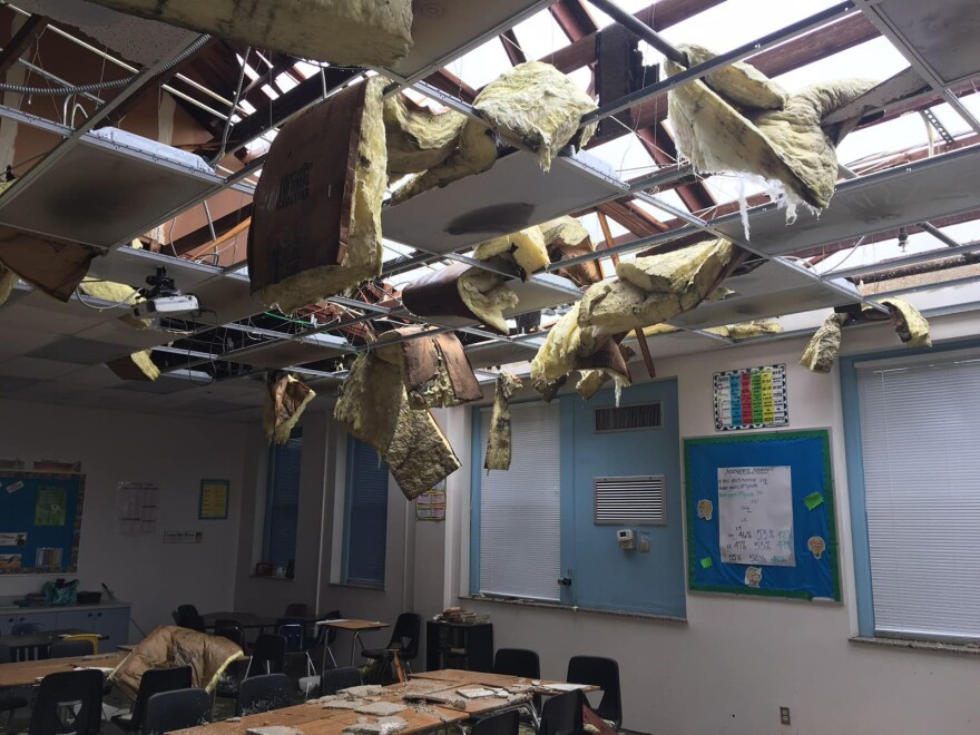 A ceiling caved in at Kathleen Middle School in Lakeland after a tornado from Tropical Storm Nestor blew off a portion of the school's roof. KATHLEEN MIDDLE SCHOOL/FACEBOOK
